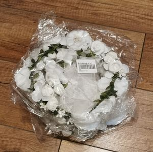 White Flower Girl Crown and Garland Wristband (4)